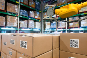 Smart logistic industry 4.0 , QR Codes Asset warehouse and inventory management supply chain technology concept.